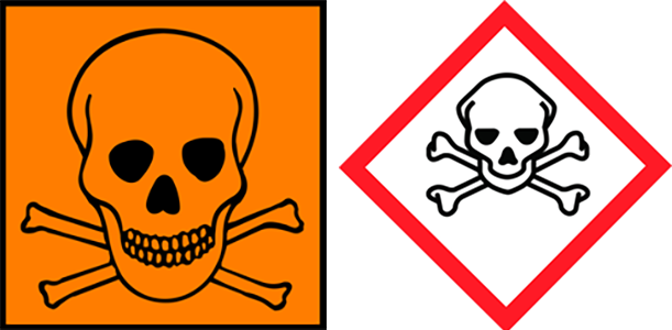 Two hazard symbols with skulls